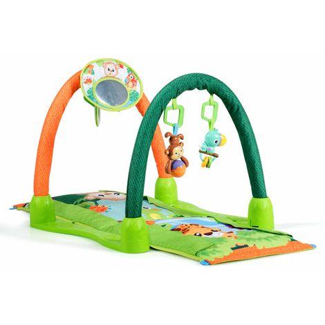 COSTWAY Spieldecke, Rainforest Spielmatte, Erlebnisdecke mit Spielbogen und Spiegel, Krabbeldecke umwandelbar, Krabbeltunnel fuer Babys, gruen Rainforest