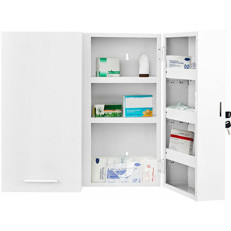 COSTWAY Steel Medicine Cabinet, Wall Mounted Lockable First Aid Cupboard Box Storage Shelf with 180¡ã Opening Doors