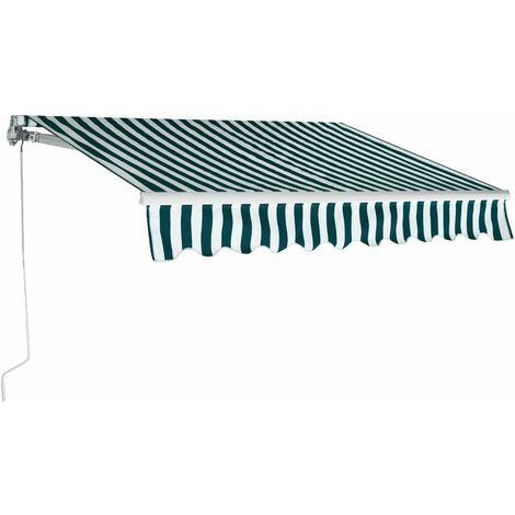 COSTWAY Store banne Auvent de terrasse rétractable manuel de 3 m X 2,5 m, toile de protection solaire avec tissu résistant aux UV et à l'eau