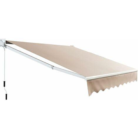 COSTWAY Store Banne Auvent Rétractable Manuel 245x200CM Angle Ajustable 40°-100° sans Per?age pour Fenêtre/Balcon/Jardin Beige
