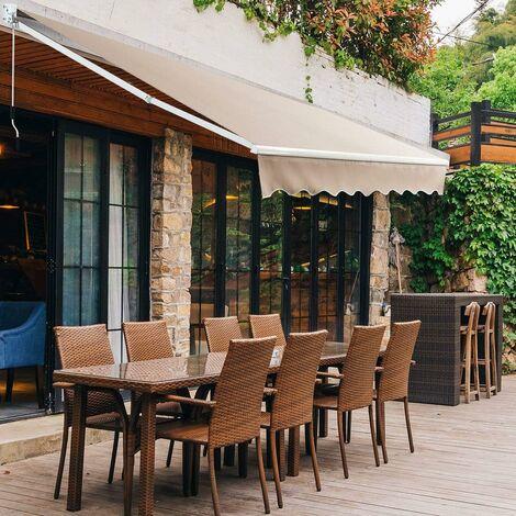 COSTWAY Store Banne Auvent Rétractable Manuel 295x250CM Angle Ajustable 40°-100° sans Per?age pour Fenêtre/Balcon/Jardin Beige