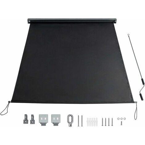 COSTWAY Store Enrouleur Occultant Grande Bloquement de la Lumière Kit de Montage Inclus 140x250 CM Écran d'Intimité Imperméable