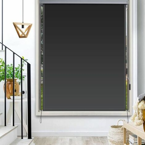 COSTWAY Store Enrouleur Occultant Grande Bloquement de la Lumière Kit de Montage Inclus 160x150 CM Écran d'Intimité Imperméable