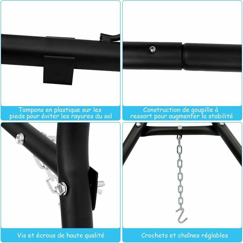 Support de Hamac en MétalType-HLit Suspendu Brésilien Capacité 200KG pour 2 Personnes Hauteur Ajustable(Hamac Non-inclus) - Costway