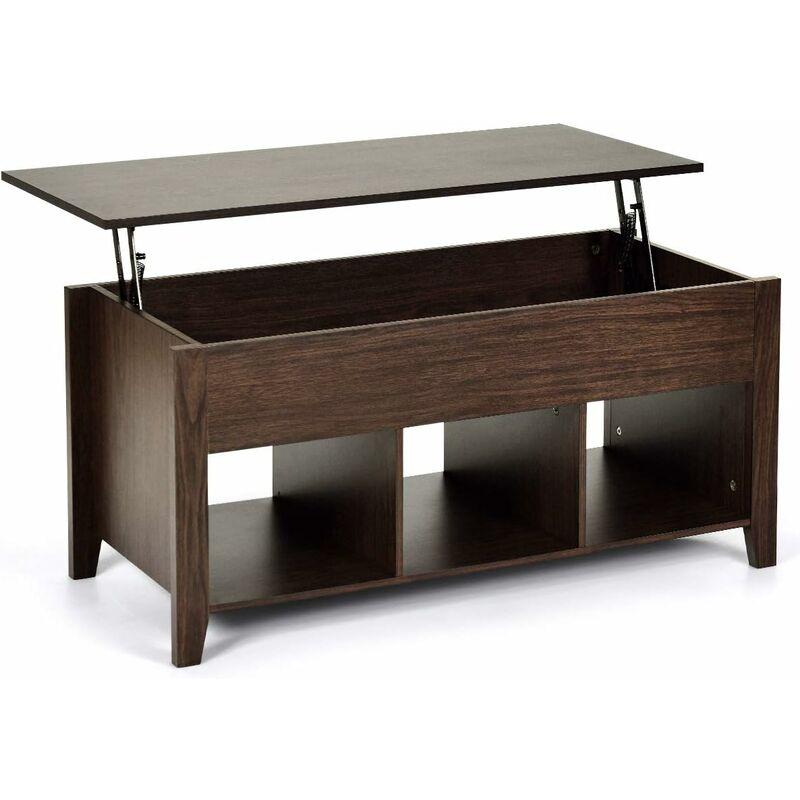 COSTWAY Table Basse avec Plateau Relevable Marron Table de Salon Carré avec Trois Compartiments pour Rangement Design Contemporain