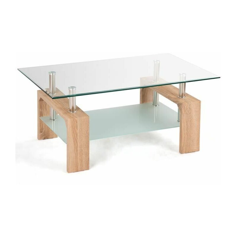 Costway Table Basse En Verre Et Bois Table De Salon Table Basse