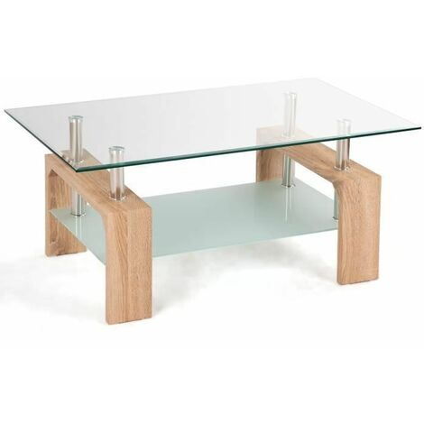 COSTWAY Table Basse en Verre et Bois Table de Salon Table Basse Scandinaves 2 Couleur au Choix 100 * 60 * 45cm Nature