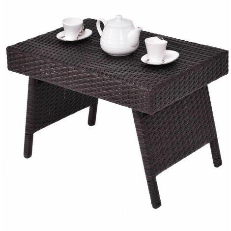 """main image of """"COSTWAY Table Basse Pliable de Jardin en Résine Table Basse Tréssée pour Salon Jardin Balcon Terrasse 60 x 40 x 39 CM Brun"""""""
