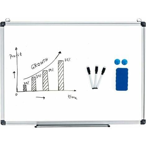 COSTWAY Table Blanc Magnétique Office Table Blanc Bureau Ecole Effaçable 50 X 35CM