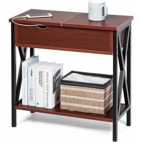 COSTWAY Table d'Appoint/Bout de Canapé en Bois avec Grande Capacité,Structure Stable pour Salon,Chambre,Bureau,Entrée 61 x 28,5 x 61CM Café