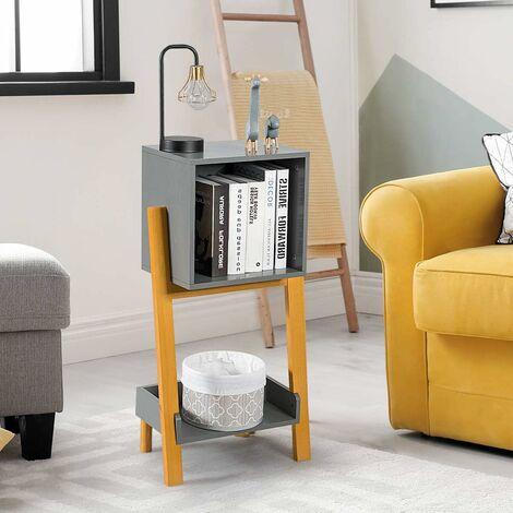 COSTWAY Table d'Appoint Scandinave Moderne à 2 Niveaux 40x24x77 CM Rangement pour Livre en Sapin et MDF pour Salon, Bureau, Chambre