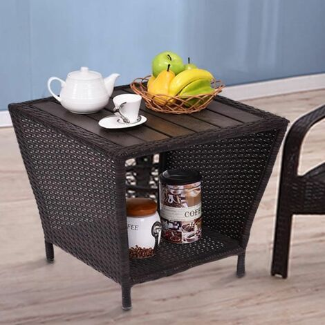 Costway Table D Appoint Table Polyrattan The Table De Jardin Table