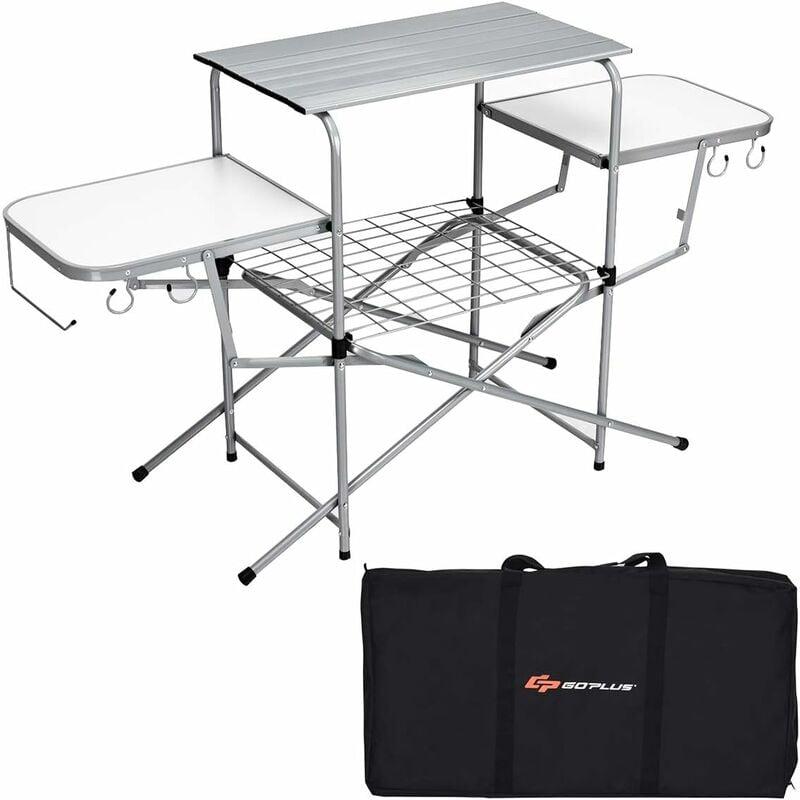 Table de Camping Pliable avec 2 Tablettes Latérales et Étagère de Grille, Table de Pique-Nique Portable avec Porte-Serviettes, 4 Crochets et Sac de