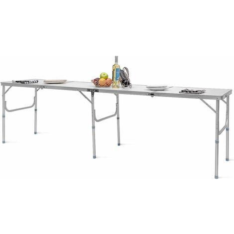 COSTWAY Table de Camping Pliante Portable 241 x 61 x 71CM Cadre en Aluminium Plateau en MDF pour Pique Nique Blanc
