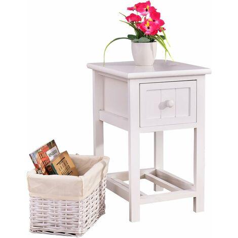 COSTWAY Table de chevet Table de nuit Chambre à coucher commode en osier armoire avec tiroir