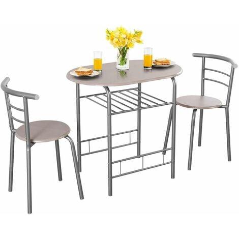 COSTWAY Table de Cuisine avec 2 Chaises pour Salle à Manger en Couleur du Bois Dimension de la table:80x53x75 cm (L x l x H) Cadre en Acier