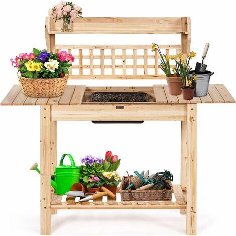 COSTWAY Table de Rempotage en bois,Table de Jardinage avec Évier Amovible, Plateau Coulissant pour Terrace, (100,5-148)x45x140,5CM