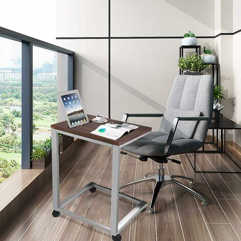 COSTWAY Table d'ordinateur Portable Bureau Informatique avec 4 roulettes Table d'appoint pour Ordinateur Table de Lit Plateau en MDF 50 x 40 x 65 cm Noyer