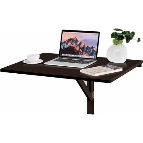 COSTWAY Table Murale Rabattable en Bois de Pin et MDF 80 x 60 x 43 CM Table Pliable Idéal pour Café,Cuisine,Balcon, Bureau Noir