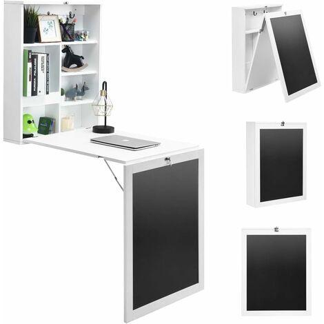COSTWAY Table Pliable Bureau Murale Rabattable avec Etagère et Mémo Board 75x15.8x60.1CM pour Salon, Salle à Manger, Bureau Blanc