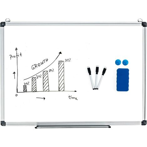 COSTWAY Tableau blanc magnétique inscriptible effaçable 60 x 40cm animants gomme