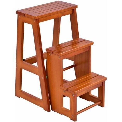 COSTWAY Tabouret Escalier en bois Tabouret de chaise pliante Échelle de 3 niveaux Multifonctionnel