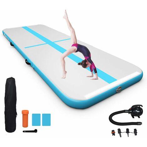 COSTWAY Tapis de Gymnastique Gonflable 3x1M Air Track avec Pompe Electrique,Kit de Réparation en PVC pour Yoga Taekwondoe Tumbling