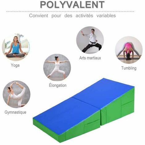 COSTWAY Tapis de Gymnastique Incliné 122 x 60 x 35CM Matelas de Fitness Convertible Trapéziforme pour Fitness,Yoga et Exercice Bleu+Vert