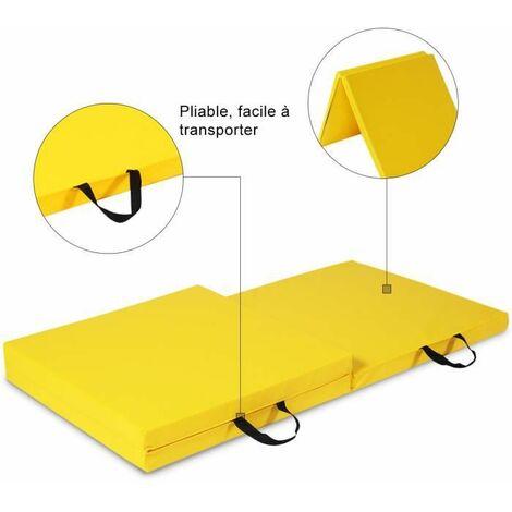COSTWAY Tapis de Gymnastique Pliable 180 x 60 x 5 cm Matelas de Fitness Portable Natte de Gym pour Fitness, Yoga, Sport et Exercice Jaune