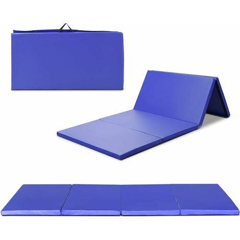 COSTWAY Tapis de Gymnastique Pliable Tapis de Yoga Pliant Tapis Musculation Matelas Gymnastique Pliant Portable 240 * 120 * 5CM Bleu