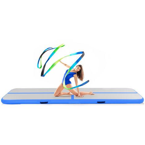 COSTWAY Tapis Gonflable Gymnastique Tapis de sol Matelas Pneumatique Pour Taekwondo Gym Yoga Camping 3 x 1 x 0, 1 m Bleu