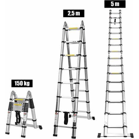 COSTWAY Teleskopleiter Aluminium, Klappleiter Mehrzweckleiter Multifunktionsleiter Anlegeleiter Ausziehleiter Verlaengerungsleiter, Belastbarkeit 150 kg 5 m