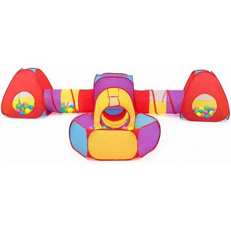 COSTWAY Tente avec Tunnel 7pcs Tente de Jeux pour Enfants 3 à 5 Ans Intérieure / Extérieure en Tissu Polyester Forme Variable Colorée Sac de Transport