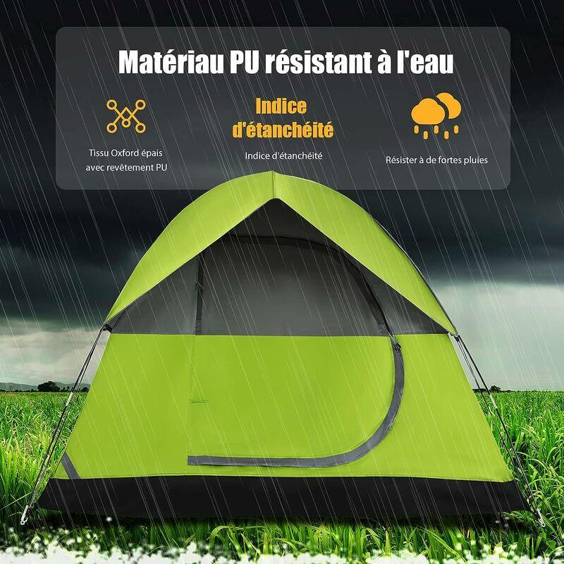 Tente de Camping Double Couche Tissu Oxford Imperméable Sac 2 Cordes Coupe-vent 4 Personnes - Costway