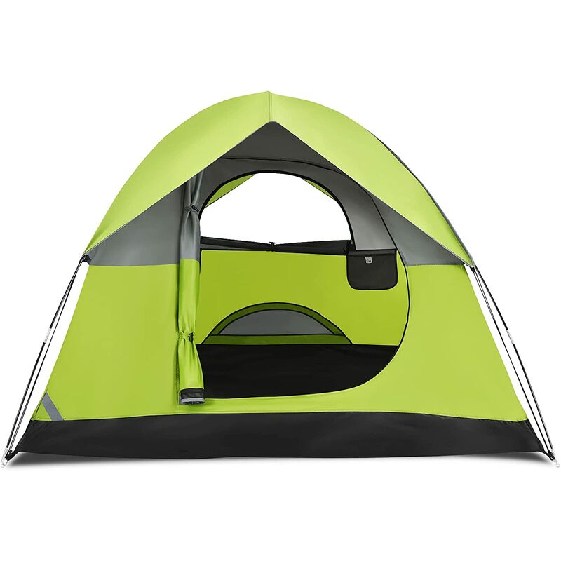 Tente de Camping Double Couche Tissu Oxford Imperméable Sac 2 Cordes Coupe-vent 2 Personnes - Costway