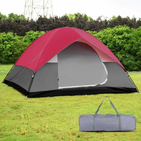 COSTWAY Tente de Camping ?tanche 6 Personnes Double Couche Tente Familiale pour Pique-nique Randonnée 300X300X165CM