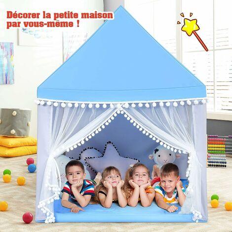 COSTWAY Tente de Jeu Enfant Ch?teau Intérieur de Princesse / Prince Cadre en Bois, Couverture en Coton en Bleu