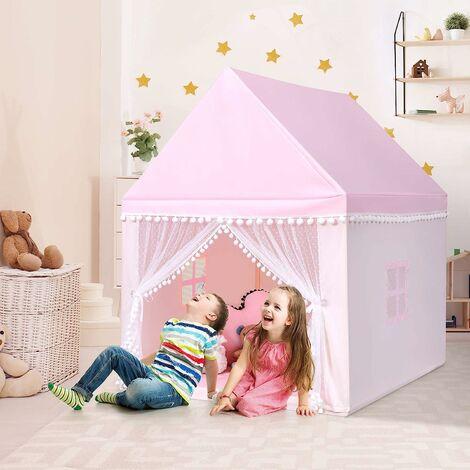 COSTWAY Tente de Jeu Enfant Ch?teau Intérieur de Princesse / Prince Cadre en Bois, Couverture en Coton en Rose