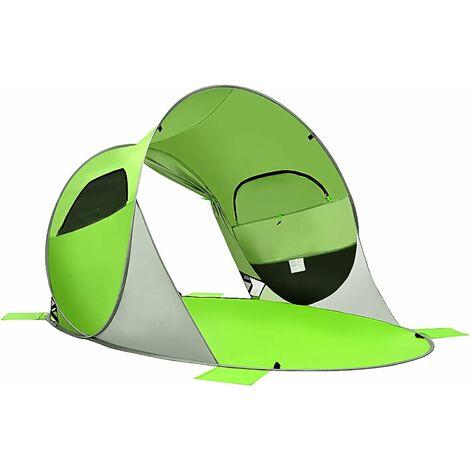 COSTWAY Tente de Plage Pliable Pop-up Automatique Instantanée 3-4 Personnes Anti UV 220x159x115cm avec 8 Sardines 4 Cordes d'Ancrage
