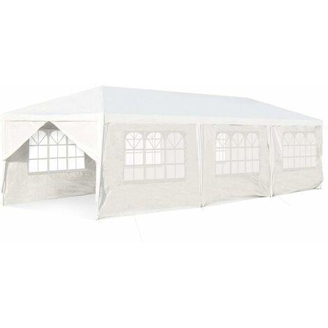 COSTWAY Tente de Réception Taille 3 X 9M Inclus 6 Murs Amovibles avec Fenêtre 2 Entrées de Porte Pour Fête, Barbecue, Mariage etc.