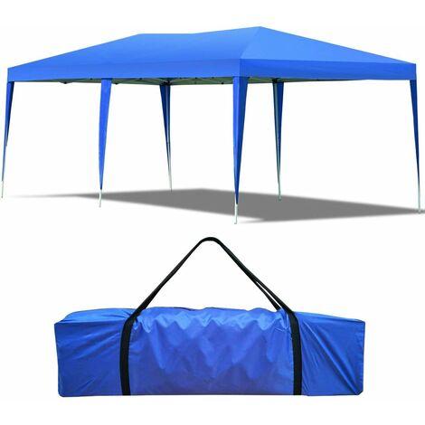 COSTWAY Tente de Réception Tente Tonnelle de Jardin Pliante Pavilion Pliable Chapiteau Imperméable 3 x 6 x 2,5 cm Bleu