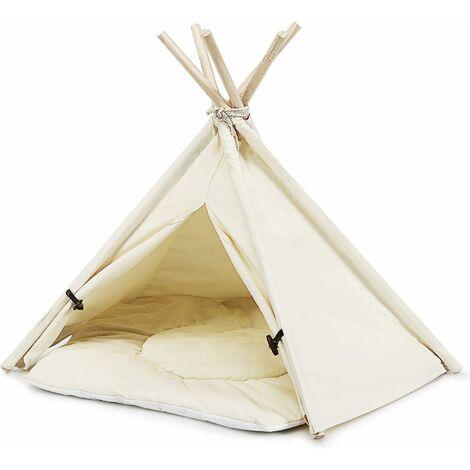 COSTWAY Tipi Tente pour Animaux Domestiques avec Coussin 84cm Amovible et Lavable Niche pour Chien Chat Lapin Intérieur ou Extérieur