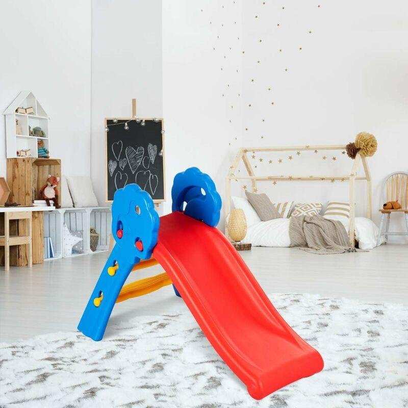 COSTWAY Toboggan Pliable Aire de Jeux pour Enfants en Plastique pour Garçons et Filles de 3 à 8 Ans de Couleur Bleu, Rouge et Jaune 108 x 60 x 71 CM,