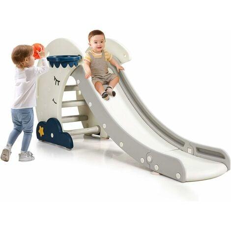 COSTWAY Toboggan pour Enfants 3 en 1 avec Panier de Basket-ball et Escalade Fonction Pliable Aire de Jeux pour Maternelle,Jardin