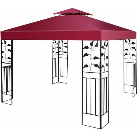 COSTWAY Toile de Rechange en Polyester Impérméable de Jardin 3 x 3 M pour Pavillon Tonnelle Tente Vin Rouge