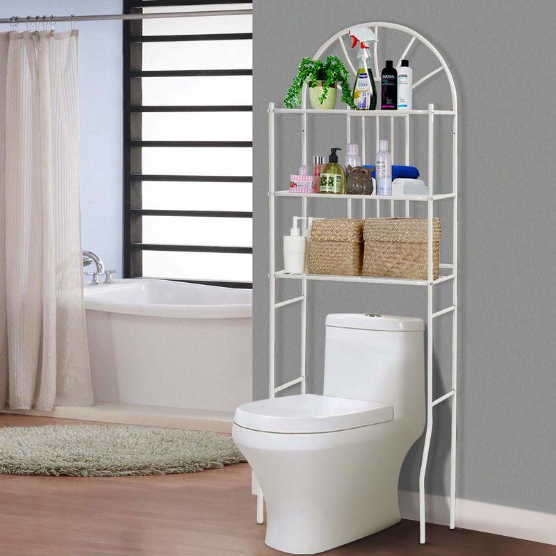 COSTWAY Toilettenregal WC-Regal Waschmaschinenregal Badregal  Badezimmerregal Lagerregal Metall weiss