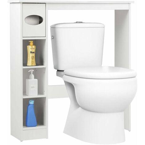 COSTWAY Toilettenregal weiss, Badezimmerregal mit verstellbaren Regalen, Badezimmerorganisator mit Papierhalter, Toilettenschrank freistehend, Ueberbauschrank Waschmaschinenregal Holz