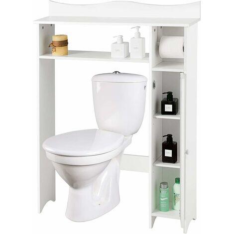 COSTWAY Toilettenregal weiss, Badezimmerregal mit verstellbaren Regalen, Badezimmerorganisator mit Seitenschrank und Papierhalter, Toilettenschrank freistehend, Ueberbauschrank Waschmaschinenregal Holz