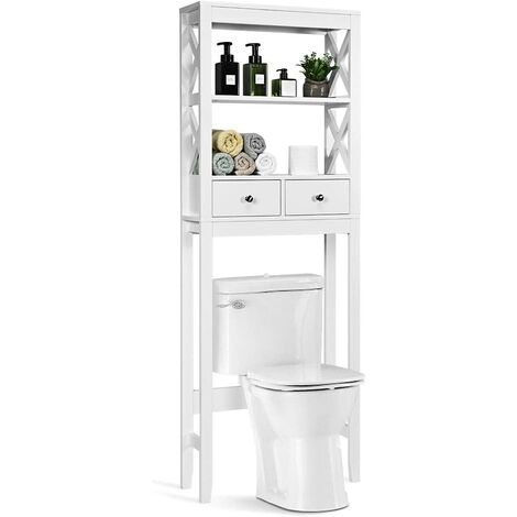 COSTWAY Toilettenschrank weiss, Badezimmerregal Holz, Ueberbauschrank Bad, Badschrank freistehend, Toilettenstaender mit 2 Schubladen
