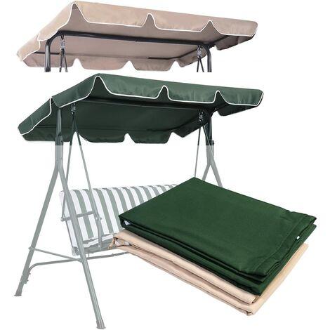 COSTWAY Toit pour Balancelle 168x115cm Imperméabilisé Auvent pour Balancelle Vert